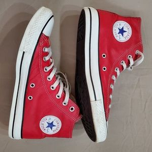 Red Leather Chuck Taylor Converse All Stars EUC